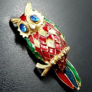 Blue Rhinestone Red Green Enamel owl brooch pin